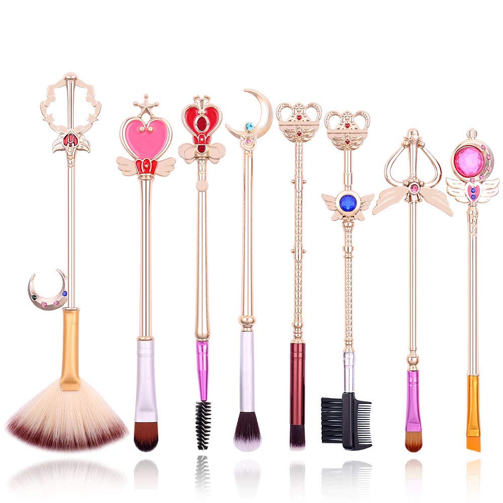 8 Pcs Sailor Moon Makeup Brush Set with Cute Pink Pouch, Cardcaptor Sakura Cosmetic Makeup Tool Sets & Kits for Daily Use and Valentine's Day/Thanksgiving/Birthday Gift