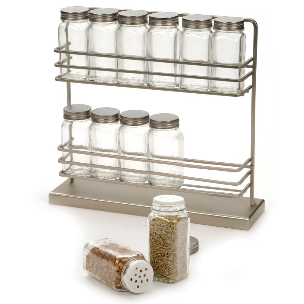 amazoncom rsvp stainless steel twotier spice rack with   - amazoncom rsvp stainless steel twotier spice rack with  bottles home kitchen