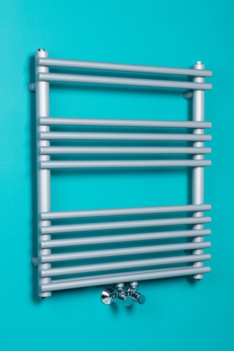 Sèche-serviettes eau chaude Malmo 312W 680 x 600 - Argent WarmeHaus