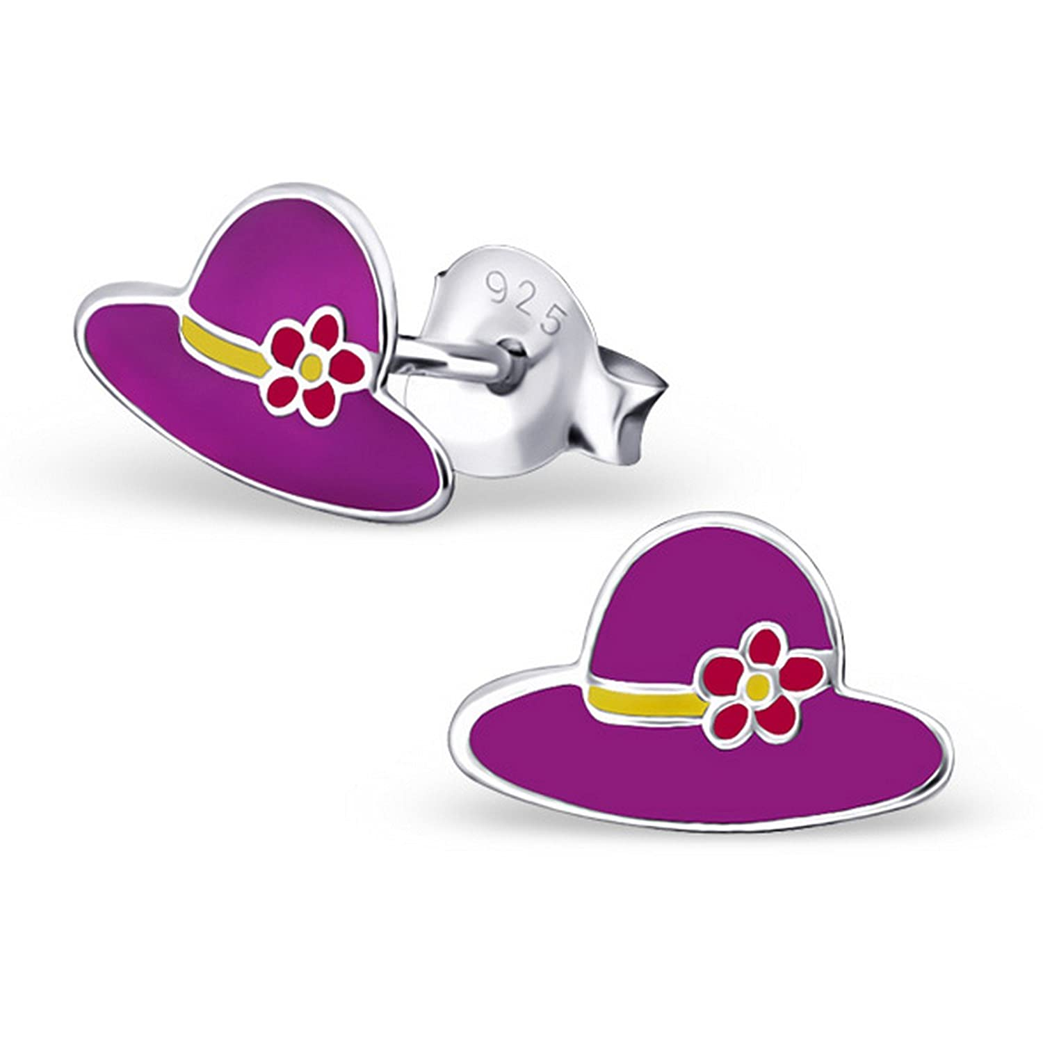 Girls Hat Colorful Ear Studs 925 Sterling Silver