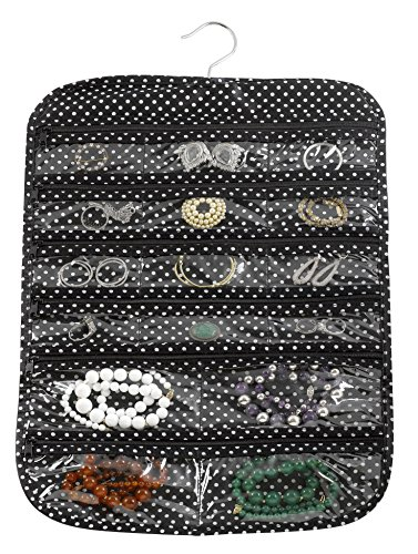 Christmas Lights Fb Cover - FloridaBrands 31-Pocket Hanging Jewelry and Accessory Organizer with Silver Hook - Black Polka Dots