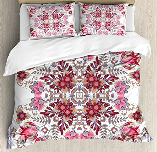Batik Duvet Cover Set King Size by Ambesonne, Vintage Colored Spring Inspired Blooming Floral Motif Oriental Lace Bridal Artwork, Decorative 3 Piece Bedding Set with 2 Pillow Shams, Pink (Artwork Polyester Lace)