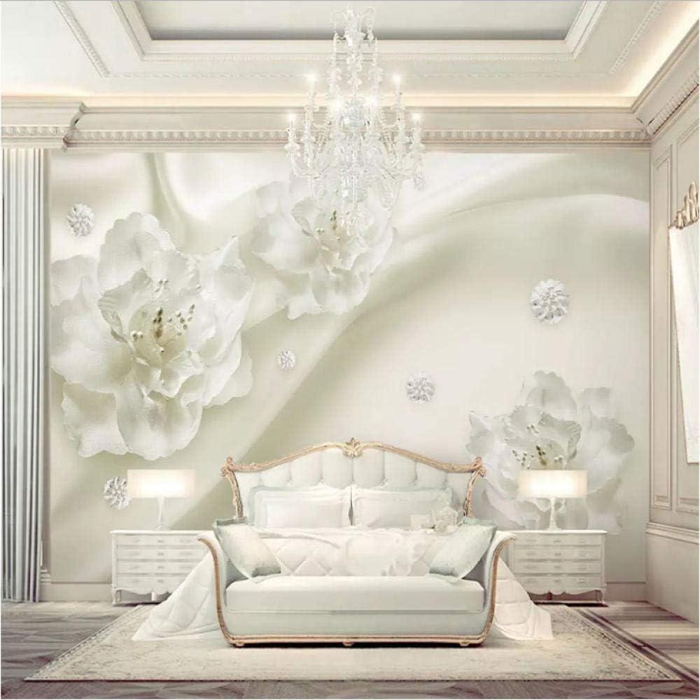 Wuyyii サイズ3D壁壁画壁紙シルクフラワーヨーロッパスタイル3Dテレビの背景大壁画リビングルーム壁画紙-280X200Cm