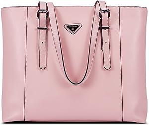 BOSTANTEN Women Briefcase Leather Laptop Tote Handbags 15.6 inch Computer Shoulder Bags Pink