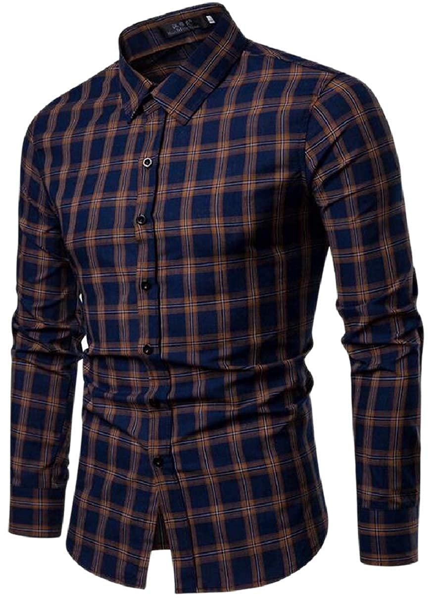 CBTLVSN Mens Non Iron Tops Work Wear Casual Office Slim Fit Button Front Shirt
