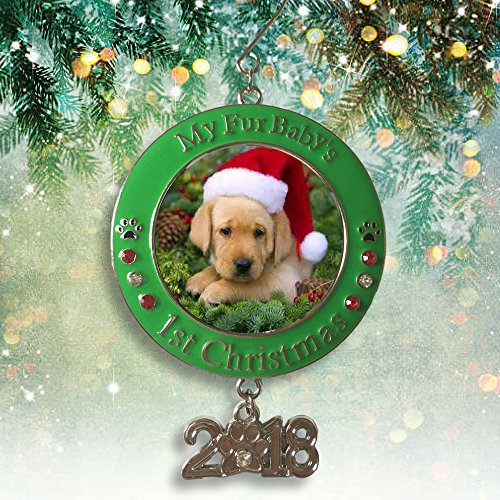 Banberry Designs Pet's First Christmas 2018 - Photo Ornament with 2018 Charm and Engraved My Fur Baby's 1st Christmas - Red and Green Christmas Keepsake Ornament (Puppy Dog Ornament Christmas)