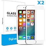 "2-Pack iPhone 6 Plus 6s Plus Screen Protector, DIGITWHALE 3D Full Curve Soft Edge Tempered Glass Screen Protector Film for iPhone 6 Plus and iphone 6S Plus 5.5""-White"