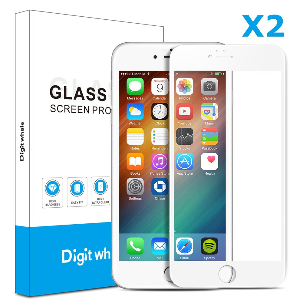 """2-Pack iPhone 6 Plus 6s Plus Screen Protector, DIGITWHALE 3D Full Curve Soft Edge Tempered Glass Screen Protector Film for iPhone 6 Plus and iPhone 6S Plus 5.5""""-White"""