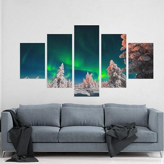 Mural Sala de estar 5 Piezas Arte de la pared Pintura al ...