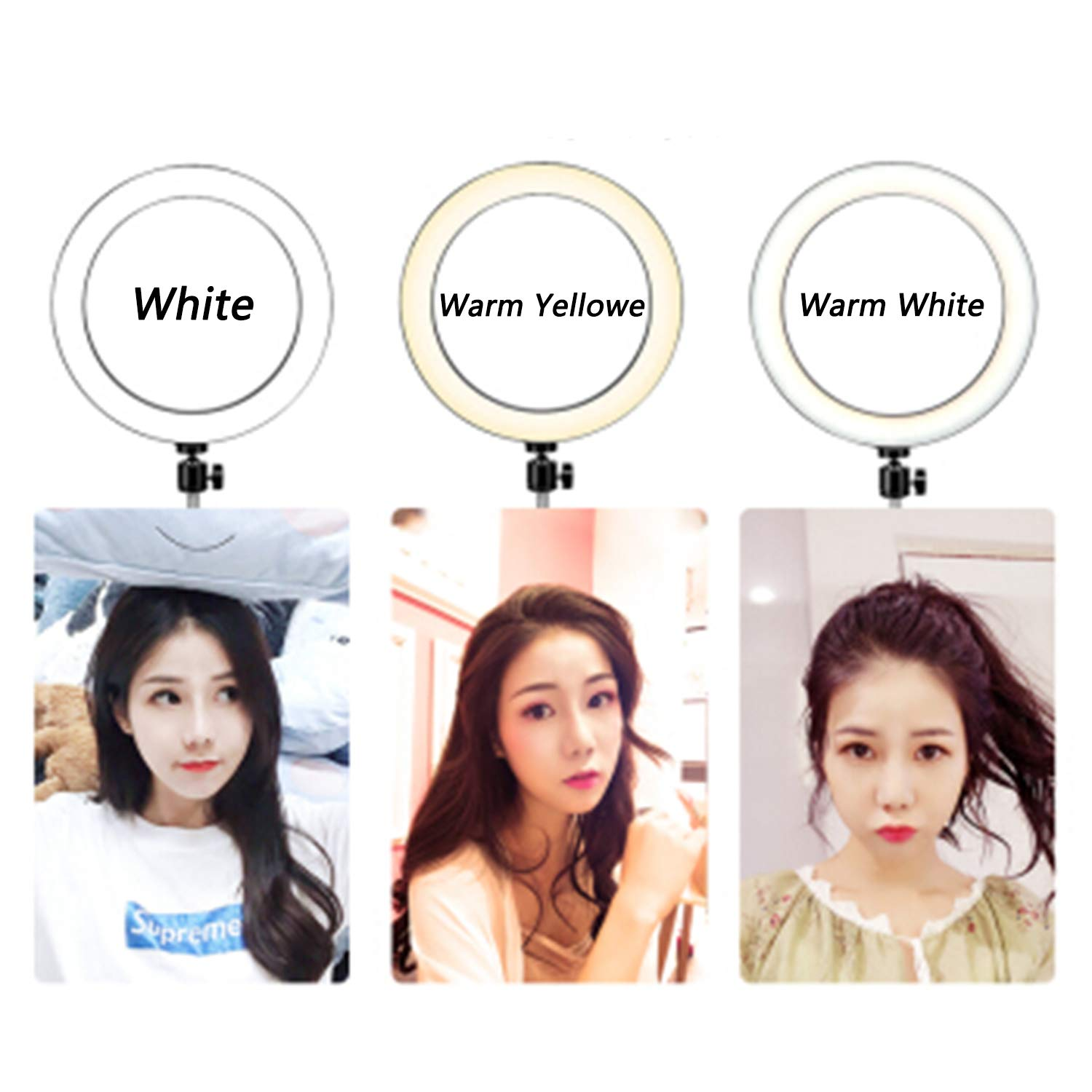 Ring Light with Stand for Camera Live Stream Makeup Phone,Dimmable LED Selfie Ring Light for Phone Video Shooting by NCElec (Image #2)