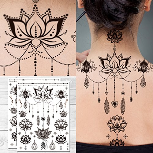 Supperb Temporary Tattoos - Mandala Floral Lotus Feather Flower Jewelry Bohemian Henna Tattoo (Set of 2) -