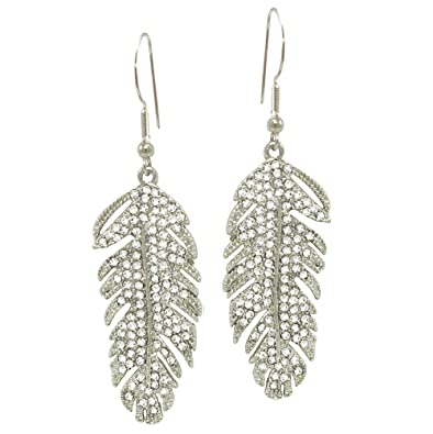 2cb021cba812d0 Feathers Silver Tone Diamante Drop Pierced Earrings With Gift Box   Amazon.co.uk  Jewellery