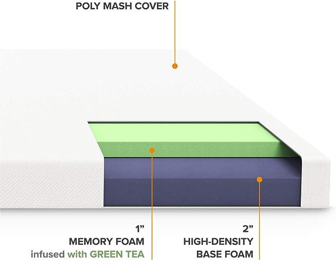 Best Price Mattress 3 Inch Topper Memory Foam Mattress with Cover Short Queen BPM-MFT-30SRQ