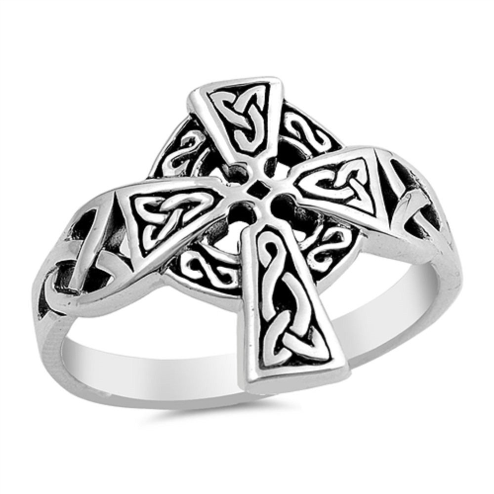 Princess Kylie Oxidized 925 Sterling Silver Celtic Cross Ring Size 10