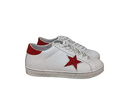 Arish Scarpe Sneakers Basse Uomo Pelle Bianco microforato