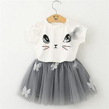unke niños niñas gato camisetas + Red velo tutú falda de manga corta dibujos animados gato impreso ropa Set: Amazon.es: Hogar