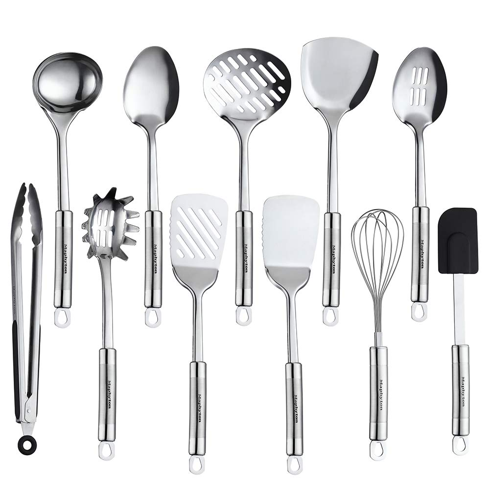 Maphyton Stainless Steel Utensils 11 Pieces Kitchen Utensil Set for Cooking with Spatula by Maphyton
