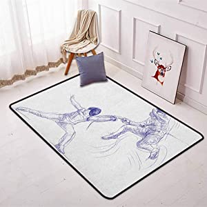 BottleTip Sports Bedroom Carpet Sketch of Two Sportsman Fencing Duel Agility Attack Discipline Sports Hobby for Various Areas W31.5 x L59 Inch Violet Blue White