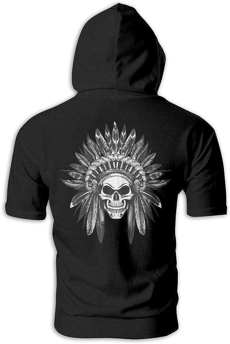 Native American Indian Skull Mens Slim Fit Short Sleeve Hoodie Pullover Hooded