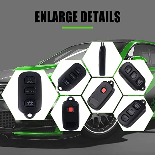 LSAILON Keyless Option Keyless Entry Remote Control Car Replacement Compatible with TOYOTA Camry Corolla Matrix Sienna GQ43VT14T 4 Buttons Keyless Entry Option pack of 1