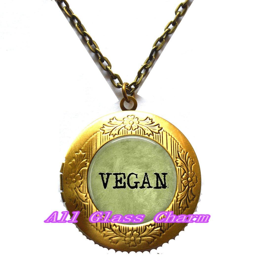Vegan Locket Necklace Locket Necklace Locket Pendant Vegetarian Beautiful Locket Necklace,VEGAN Vegan Jewelry Herbivore Leaf Charm,AS0225 Vegan Locket Pendant