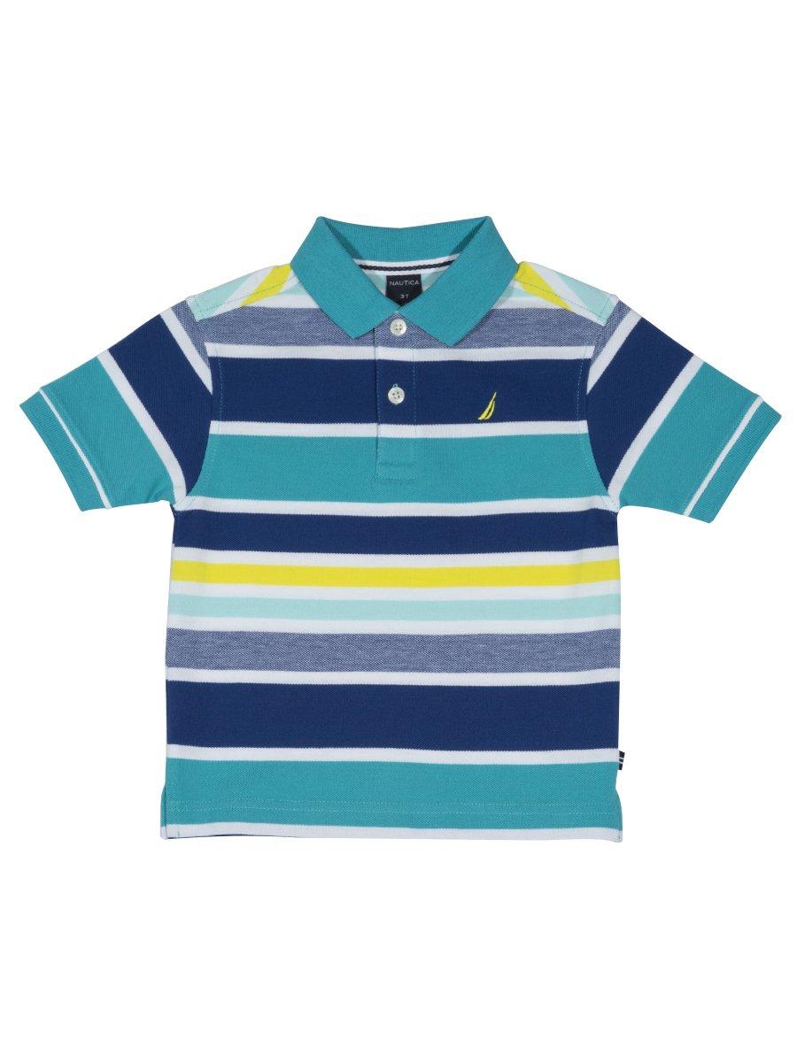 Nautica Boys' Big Short Sleeve Striped Deck Polo Shirt, Laguna Casper Blue, X-Large (18/20)