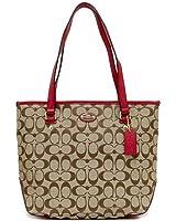 Coach Pebbled Leather 12 CM Signature Tote Bag Khaki/Classic Red