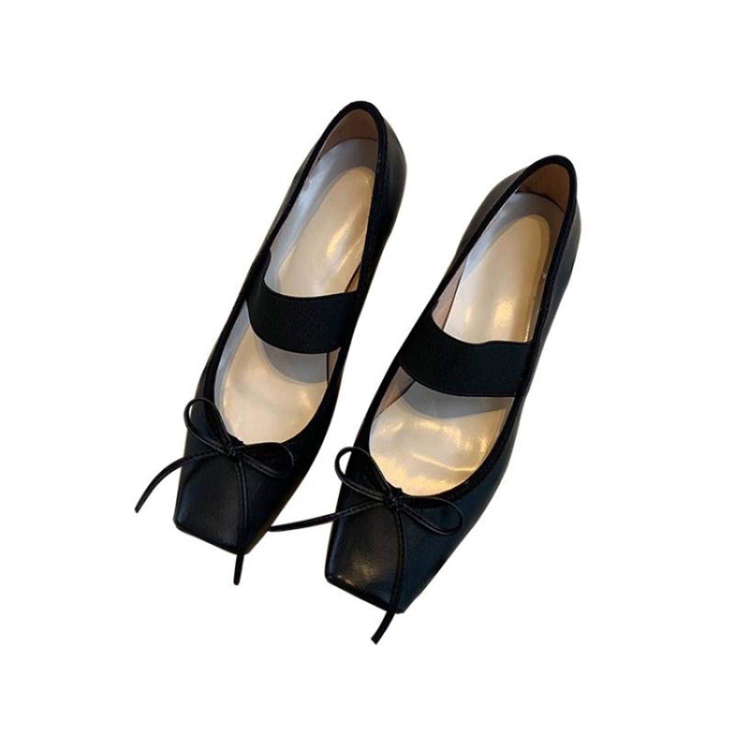 Black fly-consciousness Low-Cut shoes with Solid color Square Head with Sheepskin (Except Sheep Cashmere Sheep)