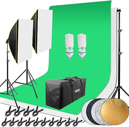 Todo para el streamer: HAKUTATZ® Juego de Estudio fotográfico Profesional, lámpara de Estudio, Sets de Estudio, Sistema de Fondo con 2 Fondos trípode de lámpara Reflector 5 en 1, softbox, fotografía con Funda Protectora