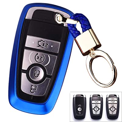 Royalfox(TM) 3 4 5 Buttons TPU Smart keyless Entry Remote Key Fob case Cover Keychain for 2020 2020 2020 2020 Ford Mustang Explorer Edge Fusion Mondeo F150 F250 F350 F450 F550 (Blue)