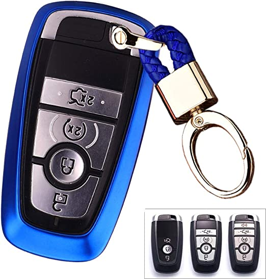 Royalfox TM Black 3 4 5 Buttons TPU Smart keyless Entry Remote Key Fob case Cover Keychain for 2017 2018 2019 2020 Ford Mustang Explorer Edge Fusion Mondeo F150 F250 F350 F450 F550