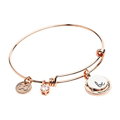"""e2b85de4ef995 Expandable Inspirational Jewelry Women Charm Stackable Bracelet, """"Be  Thankful, Brave, Happy, Kind, True, Compassionate, Strong"""", Gift Girls Her"""