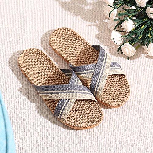 Gris Femme Sandales Chaussures Lin Sol Pantoufle Paille Yopin De Chaussons Croisée Unisexe qHPnxTO