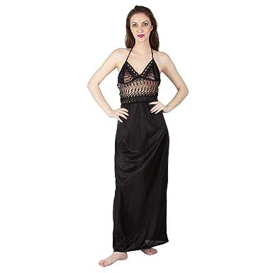 c96c7e8d9b BOMBSHELL Women's Satin Nightwear/Night Dress/Nighty Set of 2 Pcs Nighty  and Robe (Pack of 2): Amazon.in: Clothing & Accessories