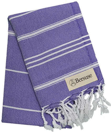 Bersuse 100% Cotton - Anatolia Hand Turkish Towel Pestemal - Baby Care Kitchen Tea Dish Washcloth - Travel Gym Head Hair Face Peshtemal - Classic Striped - 22X35 Inches, Dark Purple (Set of 6)