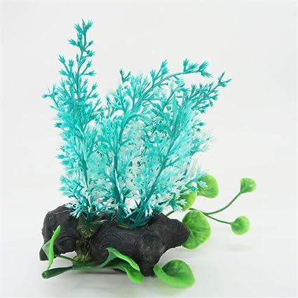 Blueqier Decoraciones de pecera Plantas Artificiales del Ornamento de la Hierba del Acuario para el Paisaje