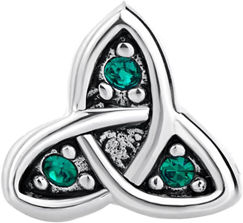 CharmsStory 925 Sterling Silver Celtic Symbol Triquetra Green Synthetic Crystal Charm Beads For Bracelets