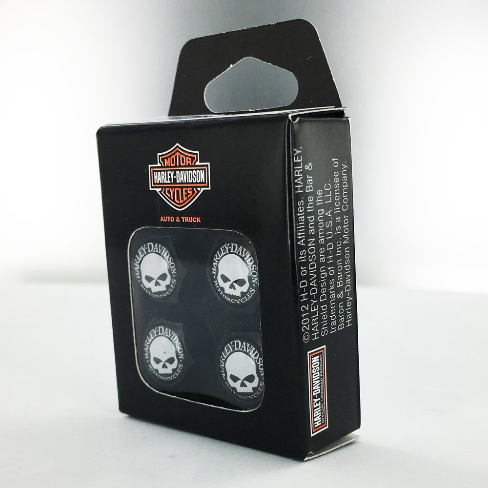 Harley-Davidson Black Valve Cap Covers With Willy G Skull