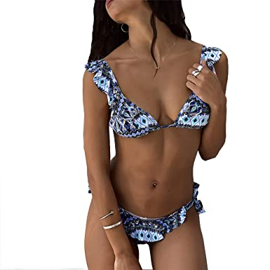 56ad2af36ba85 Amazon.com: Enhappylife Sexy Bikini for Women Fashionable Two-Piece  Swimsuits Adjustable String Racerback Bathing Suits: Clothing