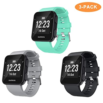 Junboer Compatible with Forerunner 35 Bands Soft Silicone Replacement Watch Band Sport Strap for Forerunner 35 Smartwatch 3 Pack, Black/Gray/Mint ...