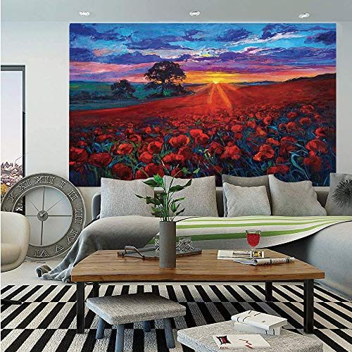 Country Decor Wall Mural,Scenery of Poppy Flower Garden on Valley with Horizon and Fairy Clouds at Sunset Paint,Self-Adhesive Large Wallpaper for Home Decor 83x120 inches,Multi
