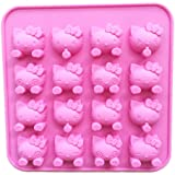 "SiliconeZone Hello Kitty Collection 6.9"" Non-Stick Silicone Chocolate Mold, Pink"