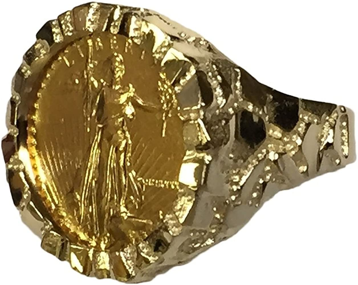 Men/'s 14k Gold-Plated American Eagle Coin Nugget-Style Ring