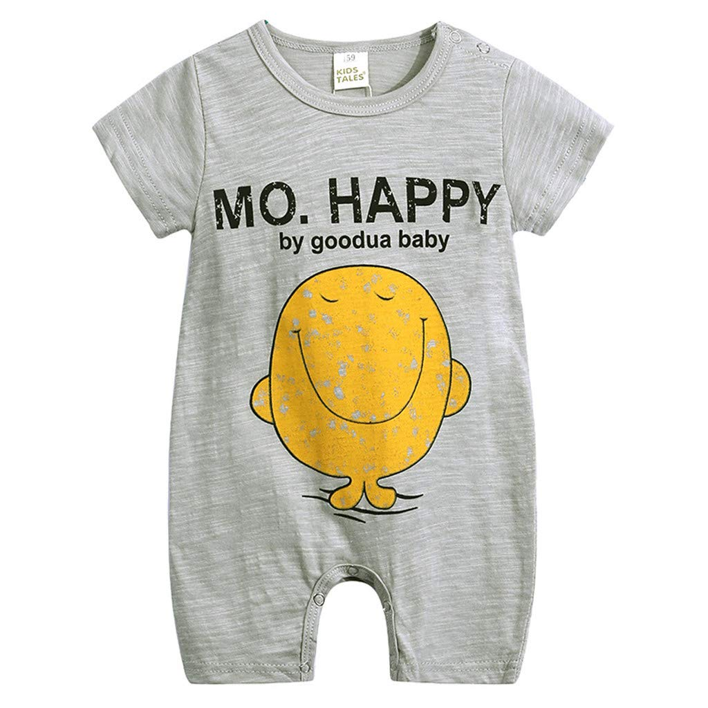 Tantisy ♣↭♣ Baby Clothes Toddler Baby Girls Boys 3M-18M Short Sleeve Cartoon Print Jumpsuit Romper Soft Comfortable Gray