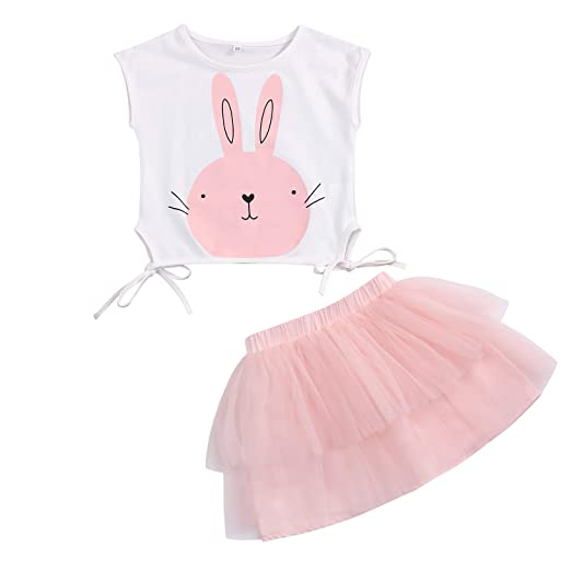 264de0006f94 Amazon.com: SWNONE Toddler Baby Girls Easter Skirt Set Bunny Print Top Tee Tutu  Skirt Outfits Spring Summer Clothes: Clothing