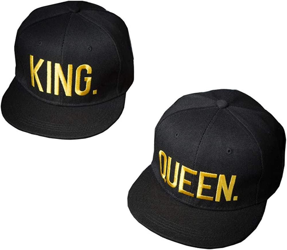 XUNQIARS King Queen Sombreros a Juego con Snapbacks Hip-Hop Sombreros Amantes Pareja Snapback Gorras Ajustables