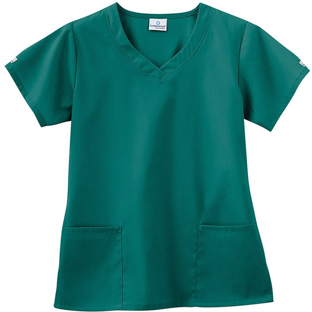 Trust Your Journey Fundamentals by White Swan Women's 3 Pocket V-Neck Solid Scrub Top 14364