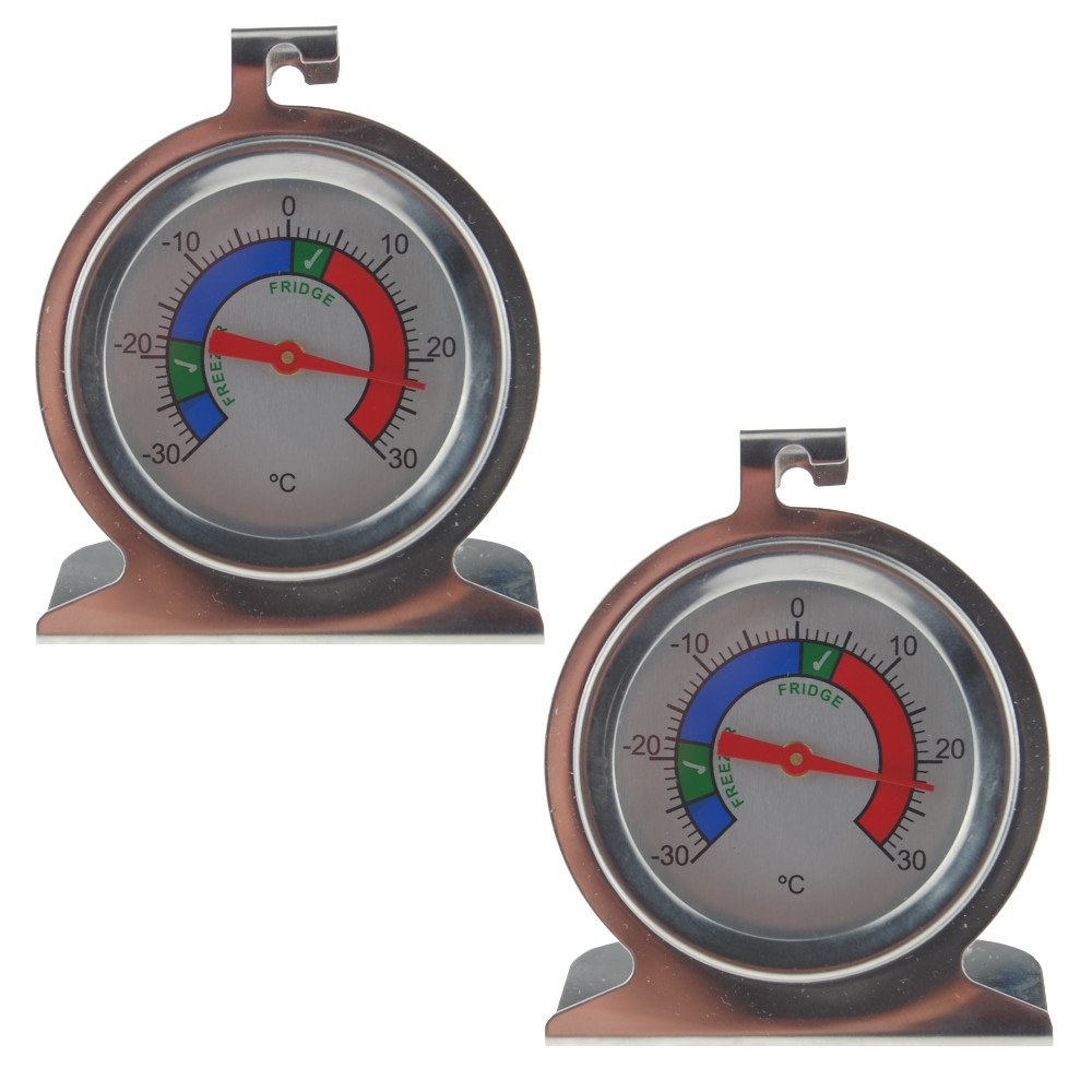 Twin Pack Fridge Thermometer and Freezer Thermometer Made From Stainless Steel With Recommended Safe Chilled Food Storage Zones