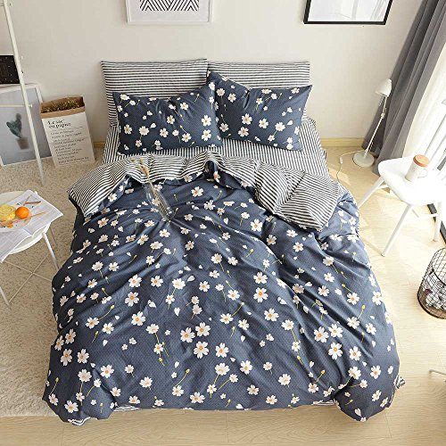 Womens Duvet (BuLuTu Vintage Floral 3 Pieces Girls Duvet Cover Set Queen Egyptian Cotton-Super Soft Stripe Kids Bedding Collections Full Navy Blue,Gifts for Daughter,Women,Child,Lover,Friend,Family,NO COMFORTER)