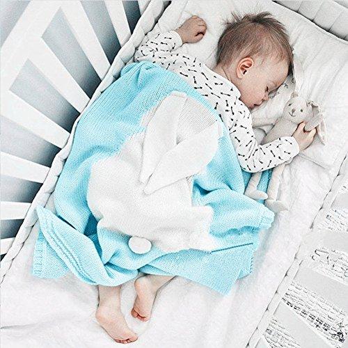 Kids Blankets,SUNBABY Cute Rabbit Crochet Newborn Blanket Baby Bedding Cover Bath Towels Play Mat (Light Blue)